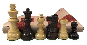 Rosewood Staunton 028 Weighted Chess Set  w/ Wood Grain Floppy Board