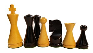 "Modern Ebonized Wood Chess Set - 4 Queens, 3X Weighted - 4"" King"