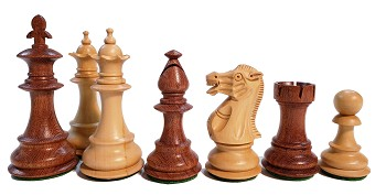 "Fleur-de-lis Babul Wood Chess Set - 4 Queens - Weighted - 3 3/4"" King"