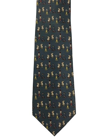 Chess Tie - Small Pieces - Gray