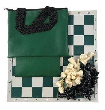 "MINI CHESS - COMBO: Set w/ 2.5"" King, 12"" Board & Mini Bag w/ Loop"