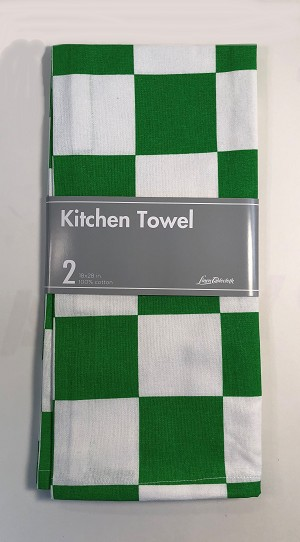 Chess Kitchen Towel 2 Pack - Green & White - 100% cotton Cloth - 18X28 inch
