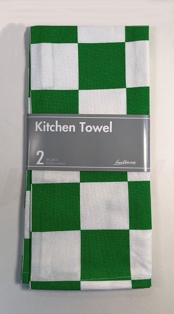 Chess Kitchen Towel 2 Pack - Green/White - 100% cotton - 18 X 28""