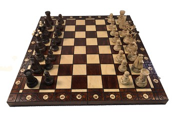 "Ambassador Chess Set - 21"" Folding Board - Brown - 4 1/4"" King"