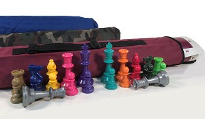 QUIVER COMBO - COLOR PIECES: Bag, Board & Colored Chess Pieces