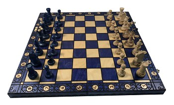 Consul Chess Set - Wood - Blue