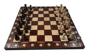 "Consul Brown Chess Set   -  19"" Folding Board  -  3 1/2"" King - 1 15/16"" Sq"