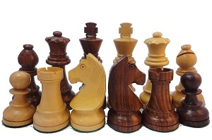 "European Knight Sheesham Wood Chess Set - 3 1/4"" King"