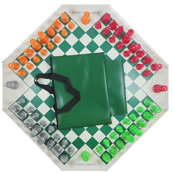 4 WAY CHESS SET COMBO - Vinyl 4 Way Board , 4 Sides Color Pieces & Bag