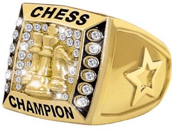 CHESS RING:  Chess Champion - Heavy 24k Gold Plated Metal Ring