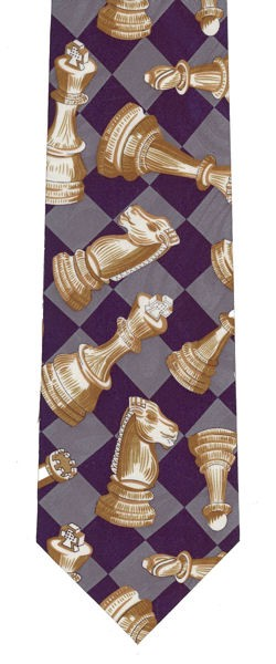 Chess Tie - Gray / Blue Chessboard Gold Pieces