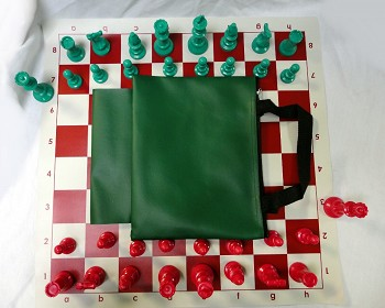 Red Green Chess Set - Pieces/Board/Bag