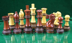 "Trudeau Sheesham / Burntwood Wood Chess Pieces - 4"" King - Weighted"