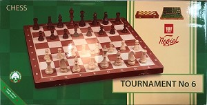 "Tournament Chess Set  #6-  Folding 21"" board  -  2 1/4"" sq  -  3 3/4"" King"