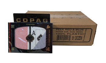 COPAG Peek Index - Red/Blue Case - 12 Sets - Poker Playing Cards