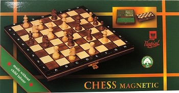 "Wooden Magnetic Chess Set   -  10 1/2"" Folding Board  -  2"" King - Brown"