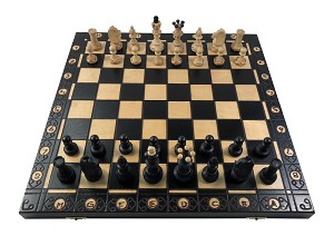 "Senator Chess Set - Black -16"" Folding Board - 3 "" King"