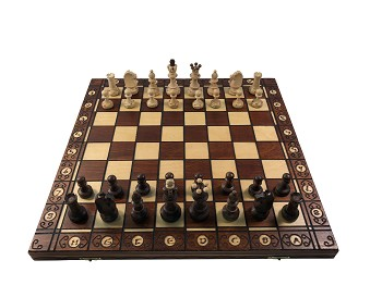 "Senator Chess Set - Brown -16"" Folding Board - 3 "" King"