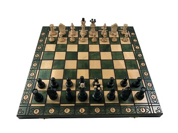 "Senator Chess Set - Green -16"" Folding Board - 3 "" King"