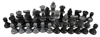 Silver and Black Chess Set