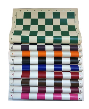 "Tournament Pro Vinyl Roll Up Chess Board  -  2 1/4"" Sq - 20 x 20"""